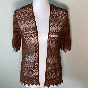 FOREVER 21 Short Sleeved Lace Cardigan sweater S
